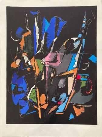 Lithograph Lanskoy - Composition abstraite sur fond noir