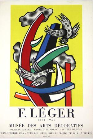 Lithograph Leger -  Composition au 2 Oiseaux 1955    Musée  des Arts Décoratifs  1956