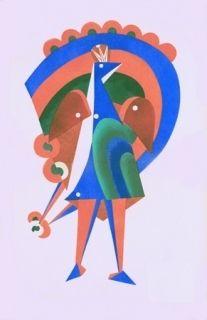 Lithograph Larionov - Composition au paon