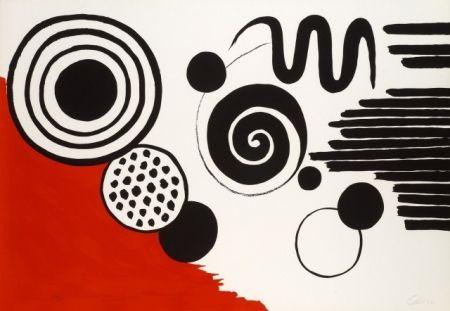 Lithograph Calder - Composition au serpent noir
