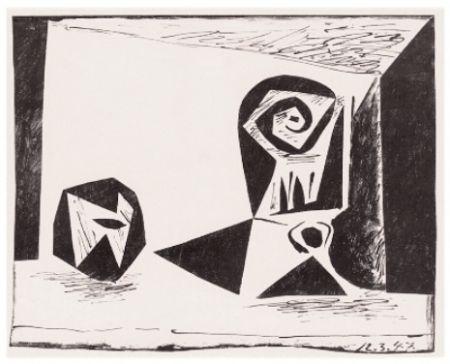 Lithograph Picasso - Composition Au Verre À Pied