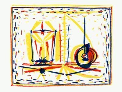Lithograph Picasso - Composition au verre et à la pomme