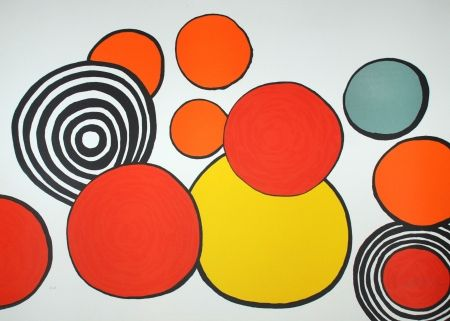Lithograph Calder - Composition Aux Cercles