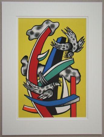 Lithograph Leger - Composition aux deux oiseaux sur fond jaune, 1955