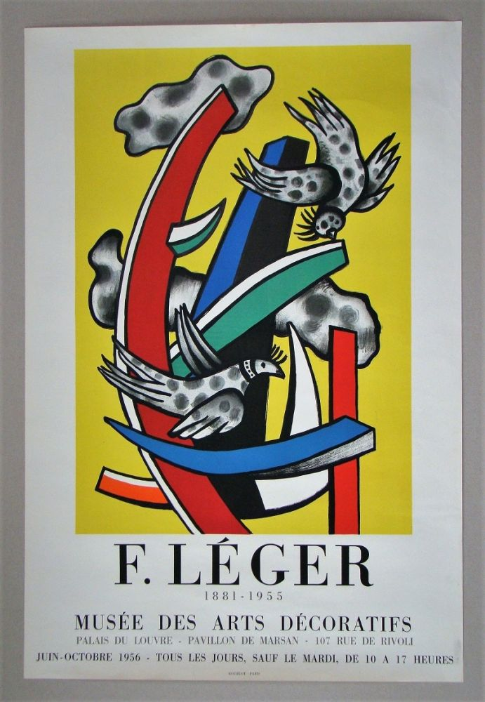 Poster Leger - Composition aux deux oiseaux sur fond jaune, 1955