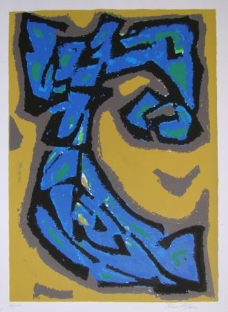 Lithograph Blass - Composition blau auf ocker