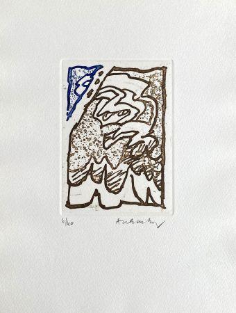 Etching Alechinsky - Composition bleu