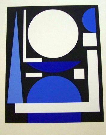 Screenprint Herbin - Composition bleu