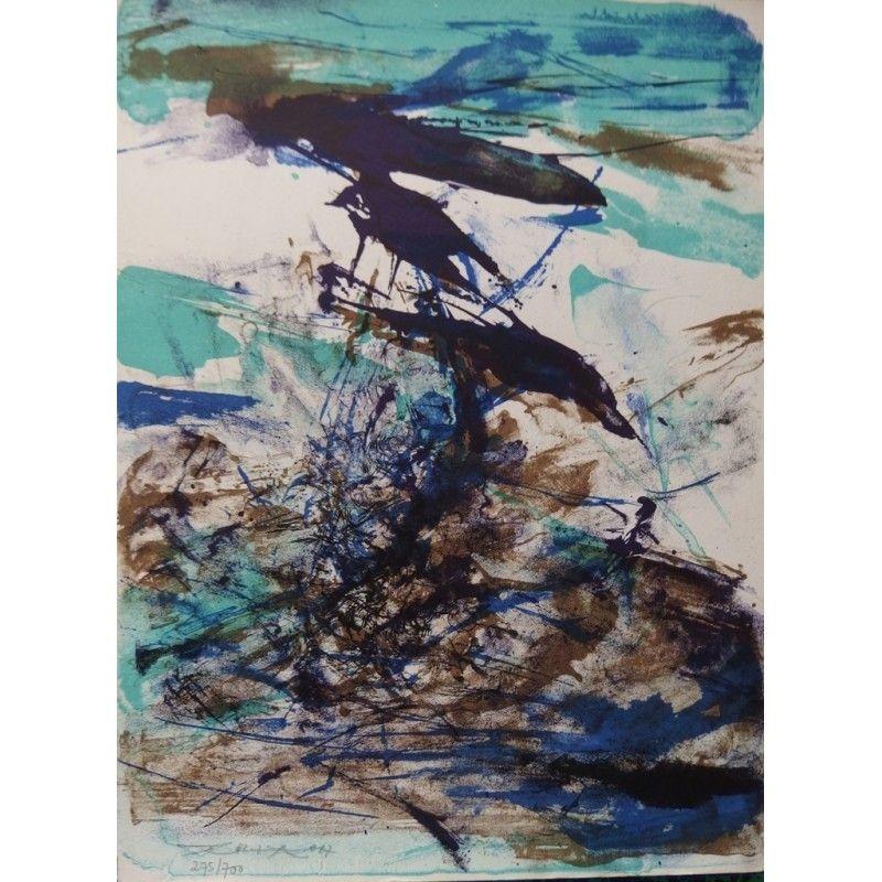 Lithograph Zao - Composition bleu et brune