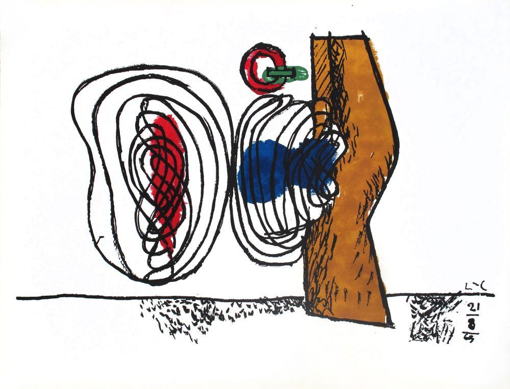 Lithograph Le Corbusier - Composition bleu et rouge