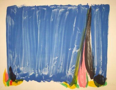 Lithograph Debré - Composition bleu & rose