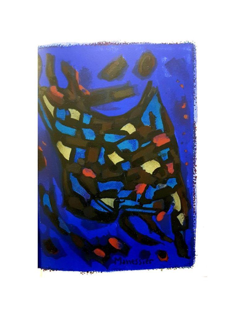 Lithograph Manessier - Composition Bleue Abstraite