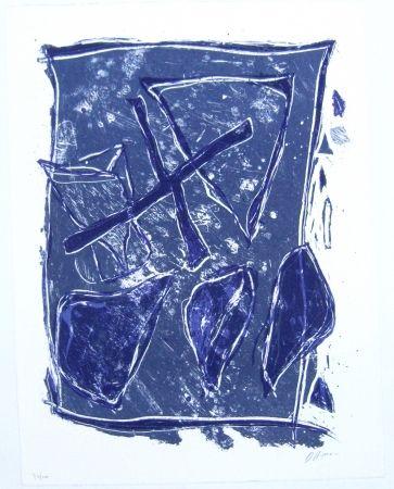 Lithograph Humair - Composition bleue et mauve