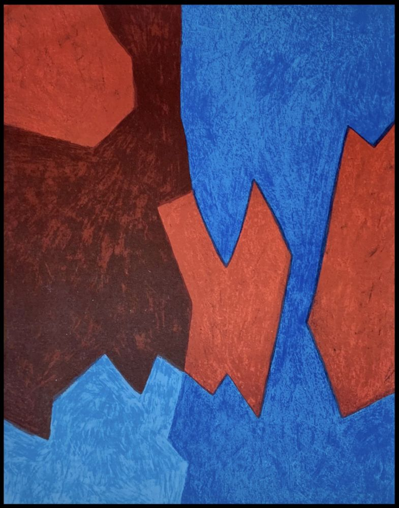 Lithograph Poliakoff - Composition Bleue et Rouge