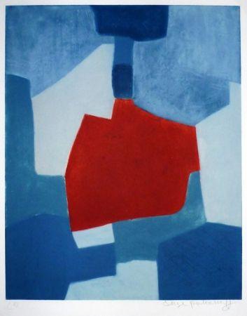 Etching Poliakoff - Composition bleue et rouge