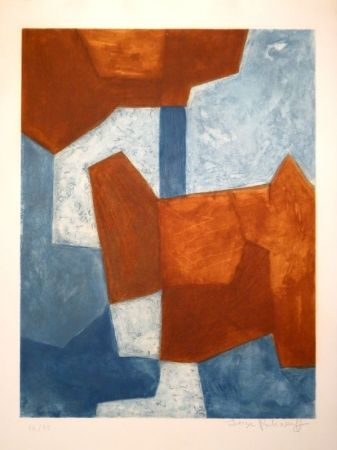 Etching And Aquatint Poliakoff - Composition bleue et rouge / Komposition in Blau und Rot