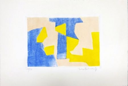 Etching And Aquatint Poliakoff - Composition Bleue rose et jaune
