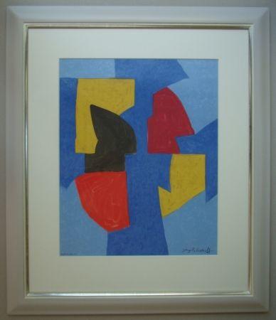 Lithograph Poliakoff - Composition bleue, rouge et jaune