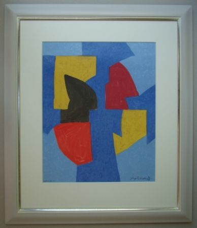 Lithograph Poliakoff - Composition bleue, rouge et jaune