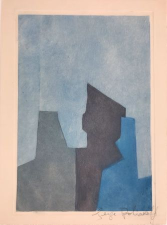 Etching And Aquatint Poliakoff - Composition bleue XXIV