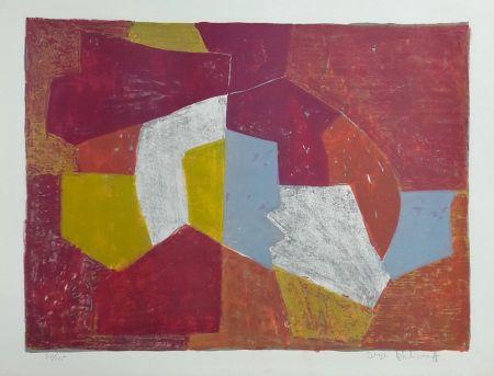 Lithograph Poliakoff - Composition Carmin, Brune, Jaune et Grise