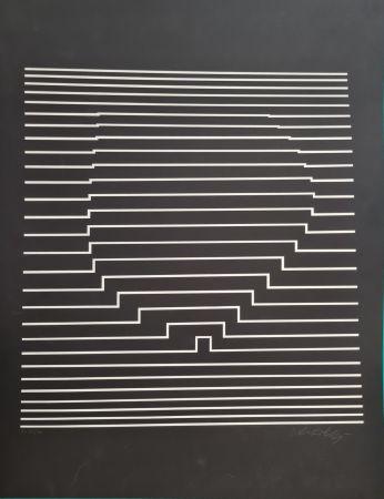 Screenprint Vasarely - COMPOSITION CINETIQUE NOIRE ET BLANCHE