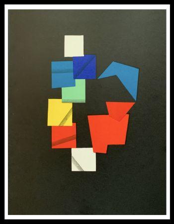 Lithograph Agam - Composition couleurs sur fond noir
