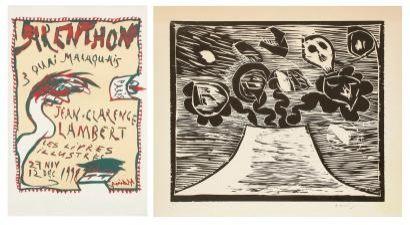 Woodcut Alechinsky - Composition crane et fleurs