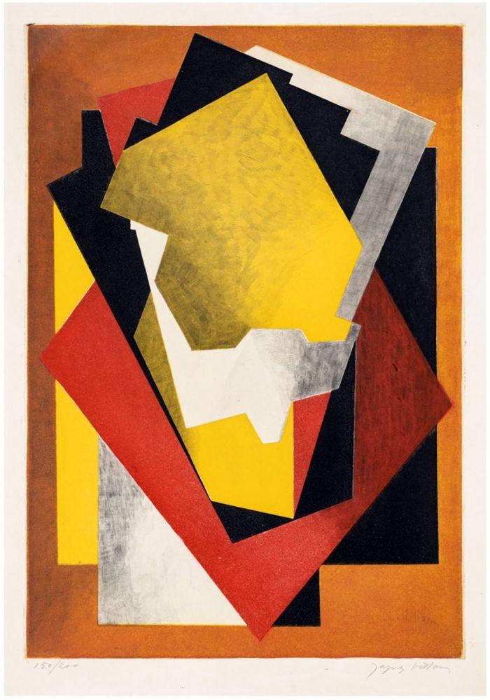 Etching And Aquatint Villon - Composition Cubiste (1927) signée au crayon.