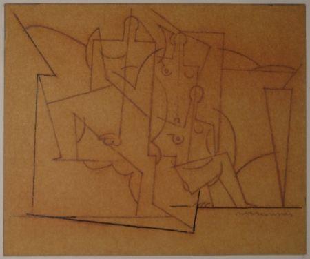 Monotype Marcoussis - Composition cubiste / Kubistische Komposition (Mann und zwei Frauen).