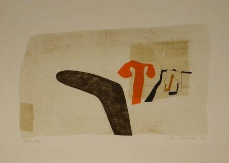 """Lithograph Bissier - Composition (""""die Dinge des Lebens verlieren ihre Namen…"""")."""