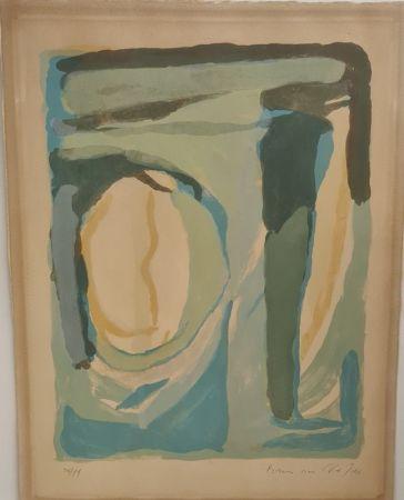 Lithograph Van Velde - Composition en bleu et vert