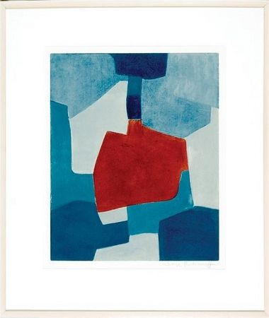 Aquatint Poliakoff - Composition en blue and rouge