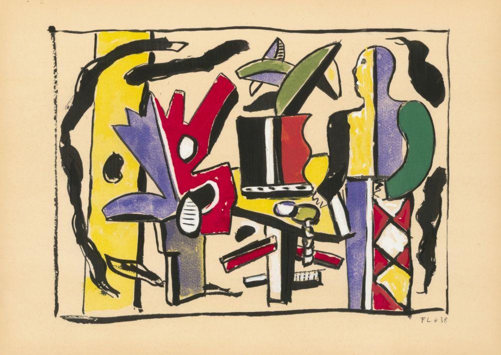 Pochoir Leger - COMPOSITION FEMME EN BLEU (1938) de l'album : Douze Contemporains par J. Lassaigne (1959)