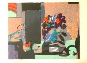 Lithograph Godard - Composition florale