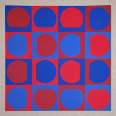 Screenprint Vasarely - Composition Folklore Planétaire