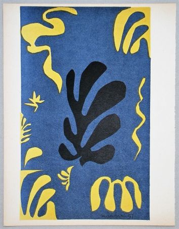 Lithograph Matisse - Composition fond bleu, 1951