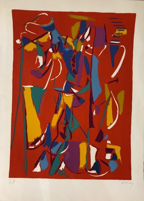Lithograph Lanskoy - Composition fond rouge