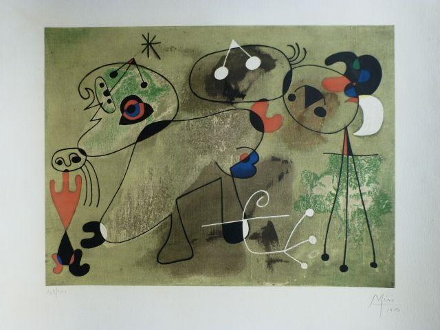 Lithograph Miró - Composition fond vert