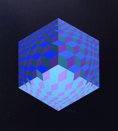 Screenprint Vasarely - Composition géométrique