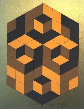 Screenprint Vasarely - Composition Gold