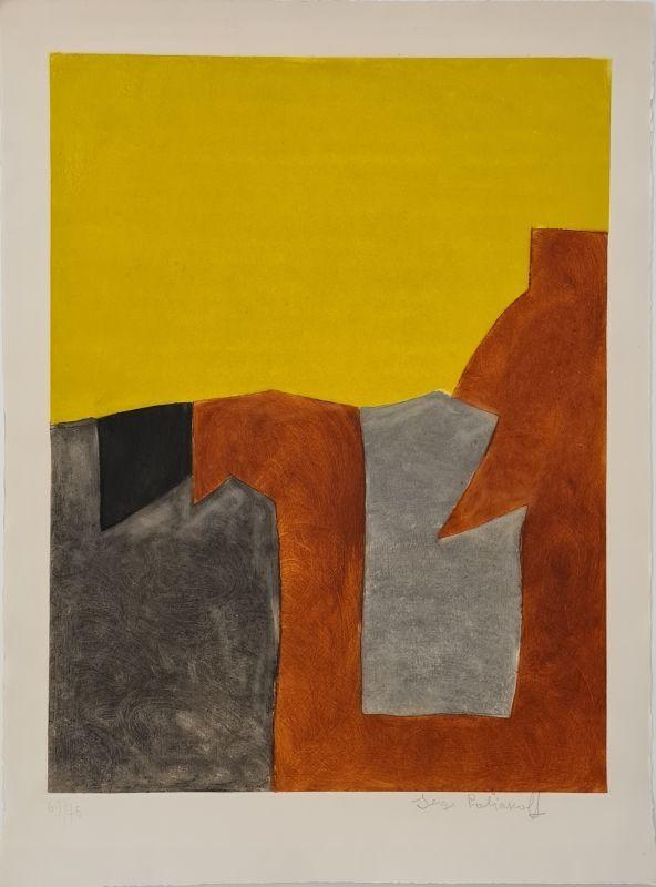 Etching And Aquatint Poliakoff - Composition grise brune et jaune IX