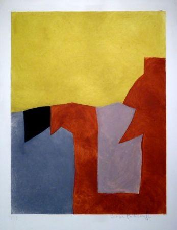 Etching And Aquatint Poliakoff - Composition grise, brune et jaune / Komposition in Grau, Braun und Gelb