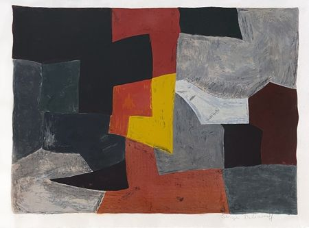 Lithograph Poliakoff - Composition grise rouge et jaune