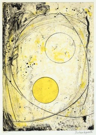 Lithograph Hepworth - Composition in black and Yellow