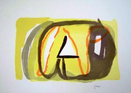Lithograph Van Velde - Composition jaune