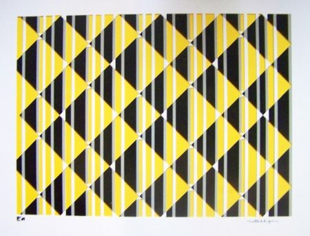 Screenprint Perez - Composition jaune