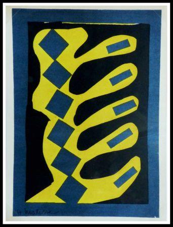Lithograph Matisse - COMPOSITION  JAUNE BLEU ET NOIR