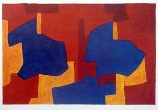 Lithograph Poliakoff - Composition jaune bleue et rouge