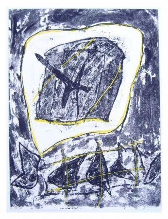 Lithograph Humair - Composition jaune et noire 1